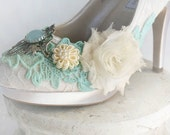SKYE romantic Victorian, vintage inspired lace embellished fairytale wedding shoes in ivory or white, made to order sizes 5 - 11, 12