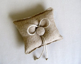 almost square tiny Burlap Ring Pillow