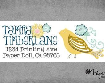 Return Address Labels -Whimsical Golden Bird with Swirls & Light Blue Flowers -Personalized Custom - Christmas, Hostess, Teacher Gift.*Tamra