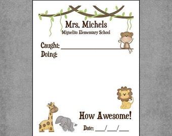 Notepad Jungle Themed Teacher Encouragement  with Monkey, Giraffe, Elephant & Lion - Personalized Custom Notepads - Teacher Gift - Michaels.