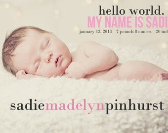 Custom Photo Birth Announcement - hello world -Boy, Girl or Twins