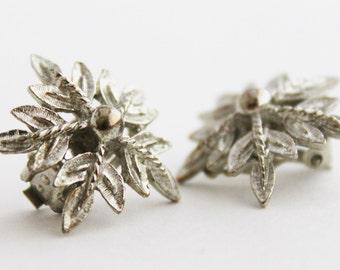Earrings - Silver Snowflake festive holiday Vintage Clip-On earrings
