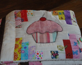 Appliqued Cupcakes Baby Quilt,  Sweet enought to Eat,  Patchwork background highlights the Cupcakes with Cherries on TOP