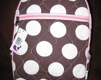 Personalized Toddler backpacks BROWN w/ white DOTS