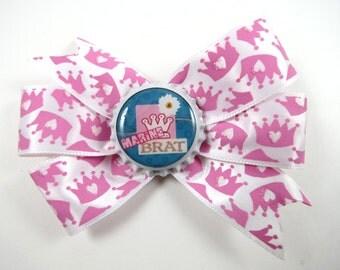 Marine Hair Bow - Crown Hair Bow - Princess Hair Bow - Military Hair Bow - Small Hair Bow - Pink Hair Bow