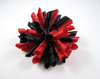 Red and Black Korker Hair Bow - Red Hair Bow - Black Hair Bow - Small Hair Clip - Korker Bow - Red - Black - Red and Black Hair Bow