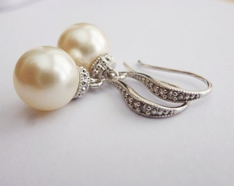 CREAM Pearl Earrings Drop Pearl Earrings Wedding Earrings Bridesmaid Gift Pearl Earrings Bridal Pearl Earrings IVORY Pearl Earrings