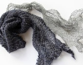 Hand Knit Wire wool Scarf, Navy and Charcoal  in Habu Yarn of Wool and Copper Wire Yarn