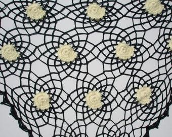 Crochet shawl, wrap, triangle, green yellow