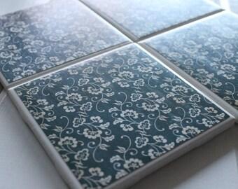 Rustic Blue Vintage Flower Four Pice Ceramic Tile Coaster Set