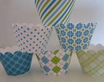 12 Standard Size Light Blue Lime Green Little Man Cupcake Wrappers