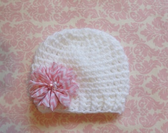 White ribbed beanie with pink chevron flower/ Newborn hat/ Baby girl hat