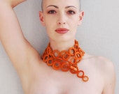 Crochet necklace / Lightweight necklace orange cashmere  / Luxury crochet jewelry by Aliquid / Fall textile jewelry / Infinity crochet scarf