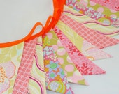 ON SALE *** Bright and Cheerful Party Bunting in Orange, Pink & Green - The perfect decoration for Showers, Weddings, and Parties