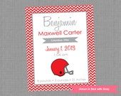 Football Nursery Art Birth Announcement - Personalized Birth Stats Print - Colors Customizable