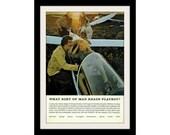 1972 TOM SELLECK & Glider Playboy Ad, Vintage Advertisement Print