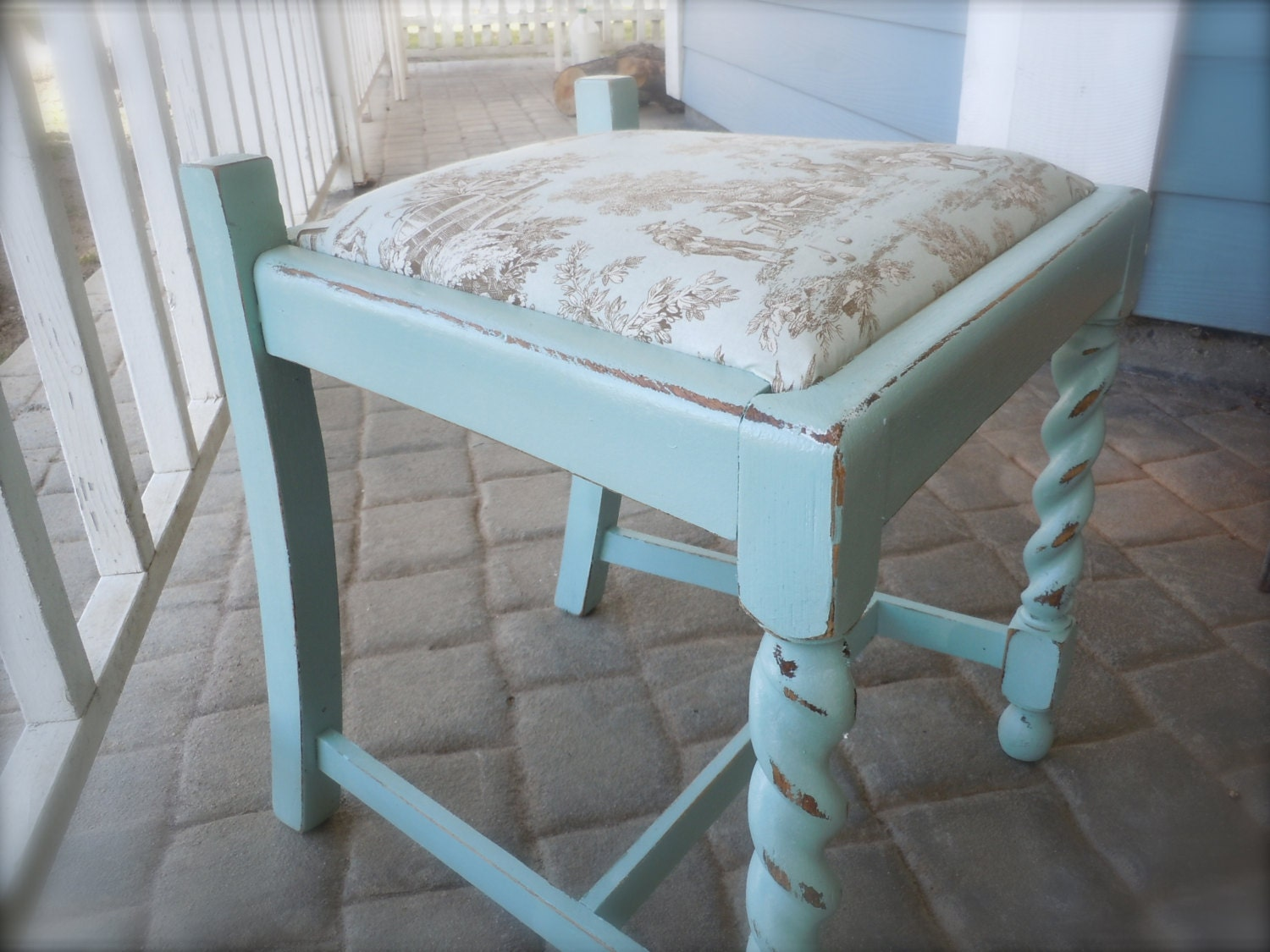 shabby chic vintage stool in tiffany blue and toile french. Black Bedroom Furniture Sets. Home Design Ideas