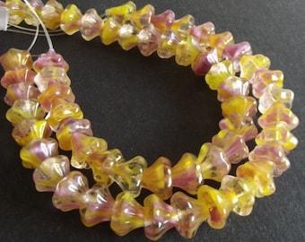 Czech Glass Beads - Yellow Czech Flower Beads - 10x12mm - 14 beads