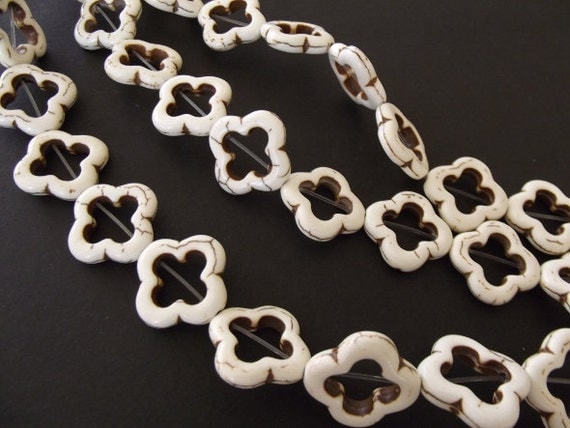 "Cream White Magnesite Flower Beads, 18x20mm - 15"" Strand"