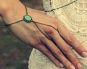 turquoise slave bracelet, turquoise hand chain, bracelet ring, ring bracelet, boho bracelet, hipster bracelet, slave ring