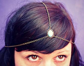 chain head piece, chain headband, turquoise headband, metal headband, unique headband