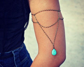 turquoise arm bracelet, turquoise armlet, upper arm chain, body chain, unique jewelry