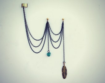 ear cuff with double piercing, ear cuff with chains, tribal ear cuff, feather ear cuff, turquoise earrings