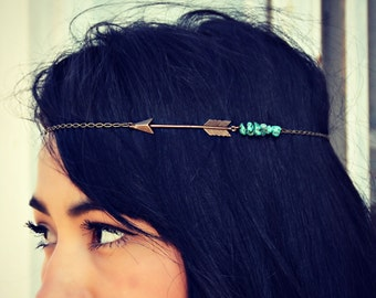 arrow head chain, turquoise head chain, chain headband, tribal headband, metal headband, unique headband