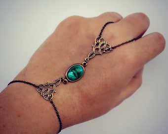 turquoise green slave bracelet, hand chain, filigree bracelet, ring bracelet, slave ring, unique bracelet, pearl ring