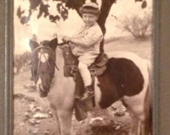 Antique Photo of Boy on Horse 1930s