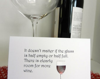 Wine Card perfect for gifting wine - thank you, hello, thinking of you, hostess gift, girlfriend or any greeting