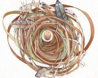 feather quartet nest egg watercolor painting original