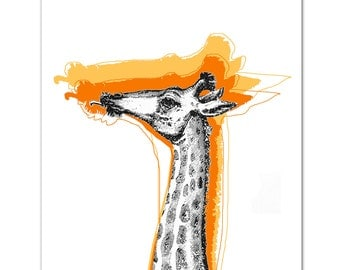 Mixed media Decorative art Animal painting drawing illustration portrait  print POSTER 8x10Cool Giraffe