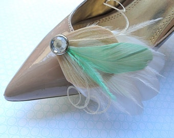 BREE Mint Green and Ivory Peacock Feather Shoe Clips with Crystal