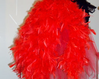 Burlesque Feather Bustle Belt RED Swan Xs S M L XL