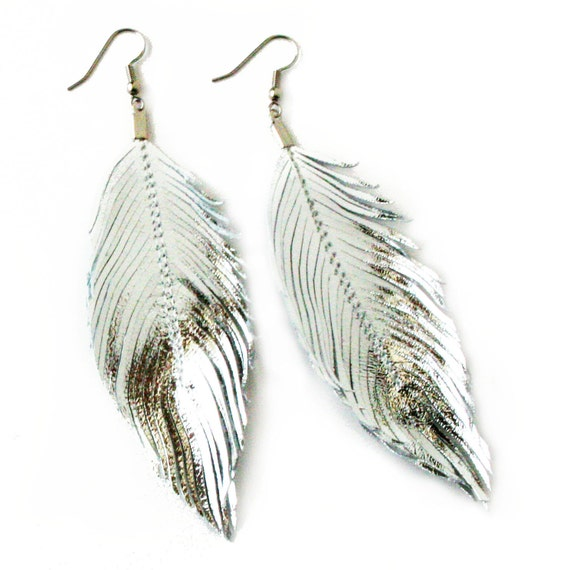 SILVER - Metallic Foil Lambskin Leather Feather Earrings