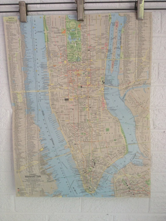Vintage Map - New York & Tourist Manhattan - National Geographic Map