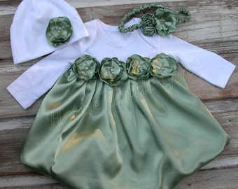 Celery Satin Baby Dress, Infant Holiday Bubble Dress Couture Baby wedding / party Dress available in 33 colors Bella Baby Blu 5752