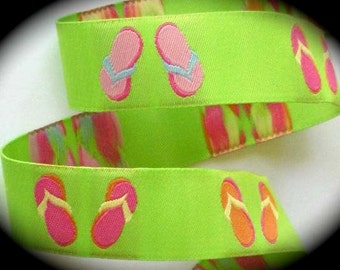 Woven Jacquard Ribbon Flip Flops Lime Green with Multi color flip flops 7/8""