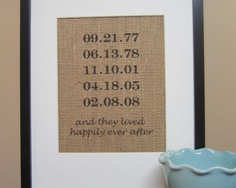 """Personalized Burlap Wedding Gift - Print 8"""" x 10"""" - Special Dates - Engagement, Shower, Wedding, Anniversary Gift  - Happily Ever After"""