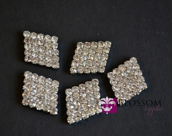 FLATBACK Diamond Shaped Rhinestone Metal Embellishment Crystal Clear 19mm X 16mm - Flower Centers - Wedding Bridal Prom