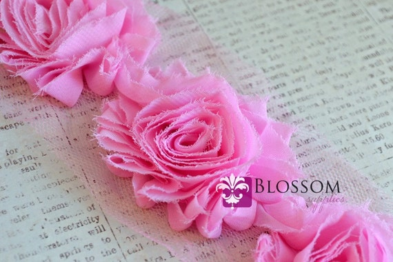 1/2 or 1 Yard Increment - LIGHT PINK - Chiffon Shabby Rose Trim - DIY Baby Flower Headbands