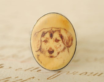 1960s vintage / scrimshaw dog sterling silver ring // BEAGLE / RETRIEVER