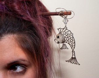 Upcycled, Chopstick/Hairstick, Marcasite, Fish