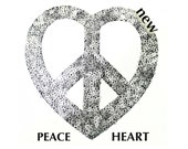 1 PCS Silver Sequins PEACE patch applique transferred by Hot Fix, Iron On for Fashion Embellishment