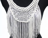 Retro White Crochet  Knitted Necklace Collar with tassels for garment, gift or embellish accessories.