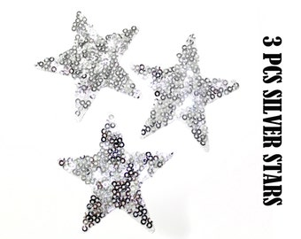 Bulk Lot 3 PCS Iron Transfer Hot Fix Silver Sequins STAR Patch Appliques 6 cm