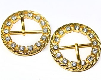 2 PCS Gold Covered  Buckles with Rhinestones For Belts, Jewelry, Fashion and Embellishments