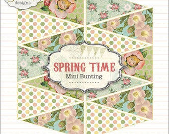 Spring Time Mini Banner Bunting Printable PDF file to download instantly by Jodie Lee