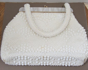 White Beaded Handbag With Mother Of Pearl Opening c1970